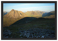 46E3683 Early morning light on Buachaille Etive Mor and Glencoe from Beinn a'Chrulaiste