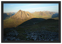 46E3685 Early morning light on Glen Etive Buachaille Etive Mor Lairig Gartain and Glencoe from Beinn a' Chrulaiste