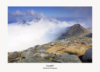 Cir Mhor Caisteal Abhail and North Goatfell through a sea of cloud from Goatfell